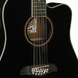 Oscar Schmidt OD312CEB 12-String Dreadnought Acoustic Electric Guitar, Black