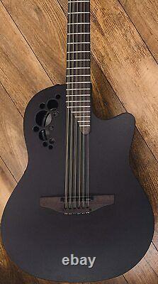 Ovation 12-String Acoustic-Electric Guitar, Elite TX Textured Black, Deep Contou