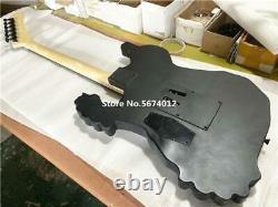 Quality Musical Instrument Black Skull Bone Carved Body Guitar Electric 6 String