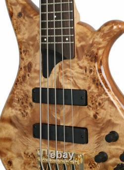 Tune TWB53 5 String Electric Bass Burl Top Brass Nut Notch Filter Casiopea